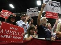 Supporters hold up signs during a campaign rally of Republican presidential nominee Donald Trump at Fredericksburg Expo Center August 20, 2016 in Fredericksburg, Virginia. Trump continues to campaign for the November presidential election with polls showing that he is trailing in many swing states, including Virginia. (Photo by