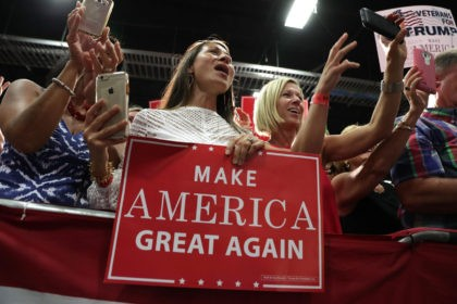 FREDERICKSBURG, VA - AUGUST 20: Supporters hold signs during a campaign rally of Republican presidential nominee Donald Trump at Fredericksburg Expo Center August 20, 2016 in Fredericksburg, Virginia. Trump continues to campaign for the November presidential election with polls showing that he is trailing in many swing states, including Virginia. (Photo by Alex Wong/Getty Images)