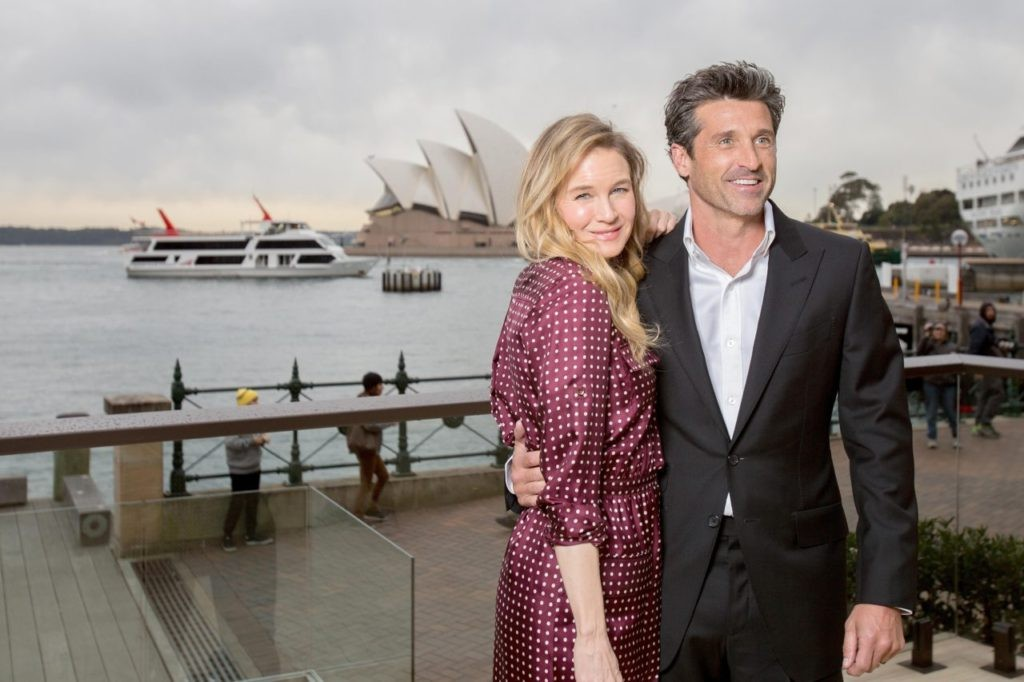 Renee Zellweger and franchise newcomer Patrick Dempsey pose for a photograph during a media opportunity for Bridget Jones's Baby at the Park Hyatt Sydney on August 22, 2016 in Sydney, Australia.  (Cole Bennetts/Getty Images)