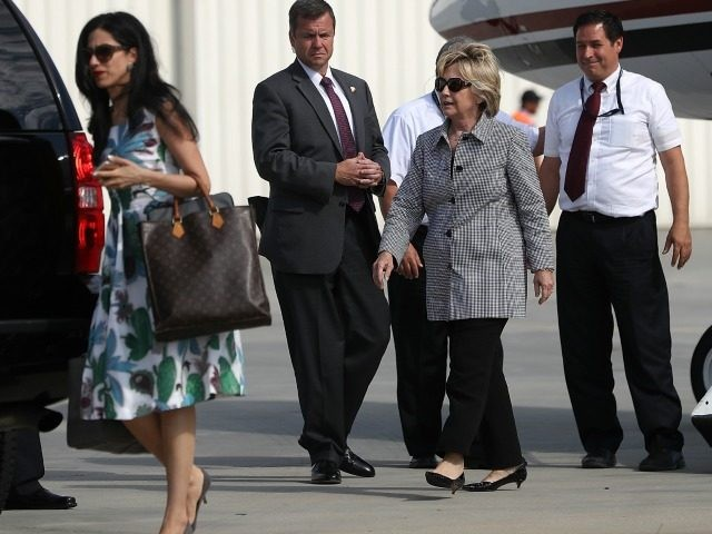 Democratic presidential nominee former Secretary of State Hillary Clinton walks off of her plane at Van Nuys Airport on August 22, 2016 in Van Nuys, California. Hillary Clinton is attending fundraisers in California. (Photo by