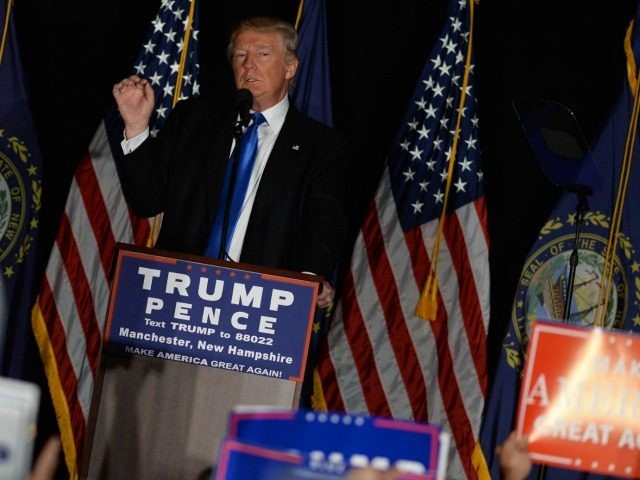 Republican presidential nominee Donald Trump speaks at a rally at the Radisson Hotel August 25, 2016 in Manchester, New Hampshire. Speaking from a teleprompter at the rally, Trump cast the November presidential election as a battle between the people and the special interests. (Photo by