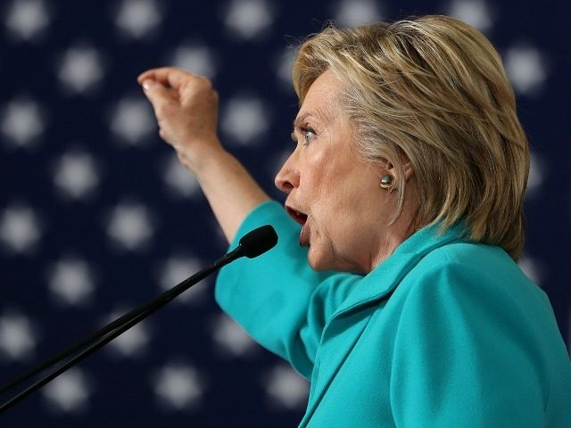 Democratic presidential nominee former Secretary of State Hillary Clinton speaks during a campaign even at Truckee Meadows Community College on August 25, 2016 in Reno, Nevada. Hillary Clinton delivered a speech about republican presidential nominee Donald Trump's policies. (Photo by `
