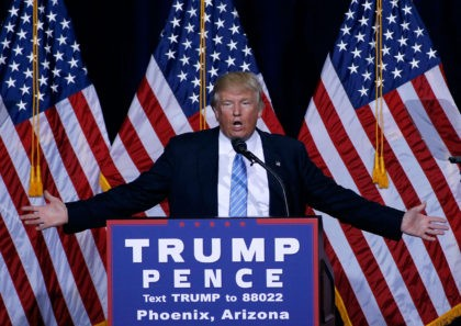 PHOENIX, AZ - AUGUST 31: Republican presidential nominee Donald Trump speaks during a campaign rally on August 31, 2016 in Phoenix, Arizona. Trump detailed a multi-point immigration policy during his speech. (Photo by Ralph Freso/Getty Images)