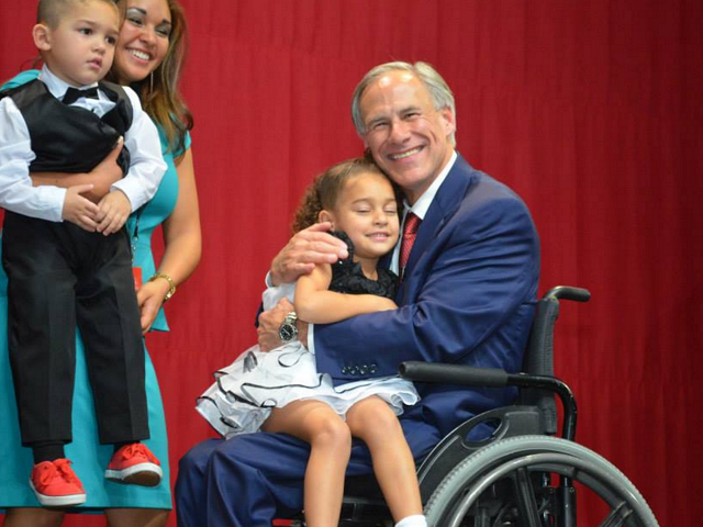 Greg Abbott at victory party.'