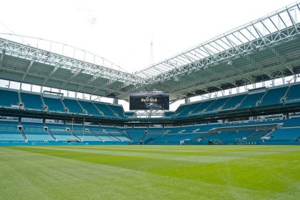 MIAMI GARDENS, FL - AUGUST 17: A general view of Hard Rock Stadium on August 17, 2016 in Miami Gardens, Florida. The Miami Dolphins and Hard Rock International announced an 18 year naming agreement at the press conference. The stadium is nearing completion on a $500 renovation which includes a …