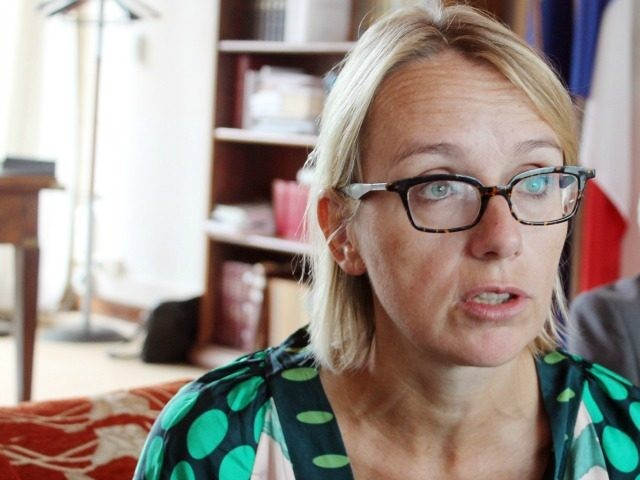 Advisor for African affairs to the French President Helene Le Gal speaks to journalists in Bangui, on October 7, 2014. Sent as France's special envoy to Centrafrica by Francois Hollande, Le Gal has met with the interim government, UN forces from the MINUSCA and religious leaders in order to set …