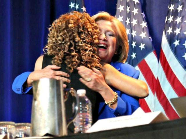 Hillary Hugs Debbie AP