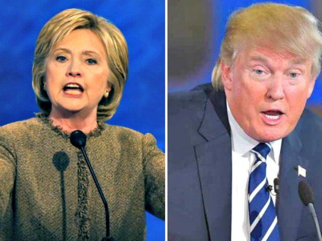 Hillary and Trump Debate Podiums