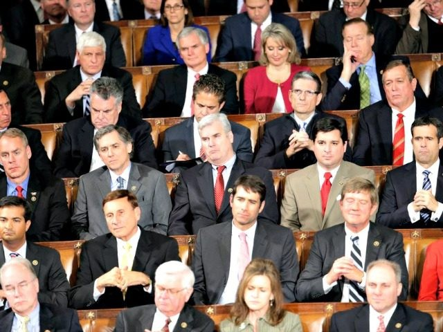 Republican members of Congress listen during President Baracl Obama's State of the Union address before a joint session of Congress on Capitol Hill in Washington, Tuesday, Jan. 20, 2015 (AP Photo/Pablo Martinez Monsivais)