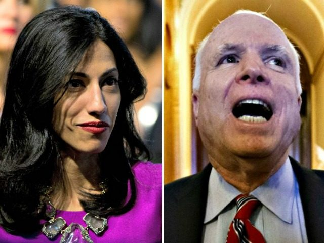 Huma Abedin and John McCain AP