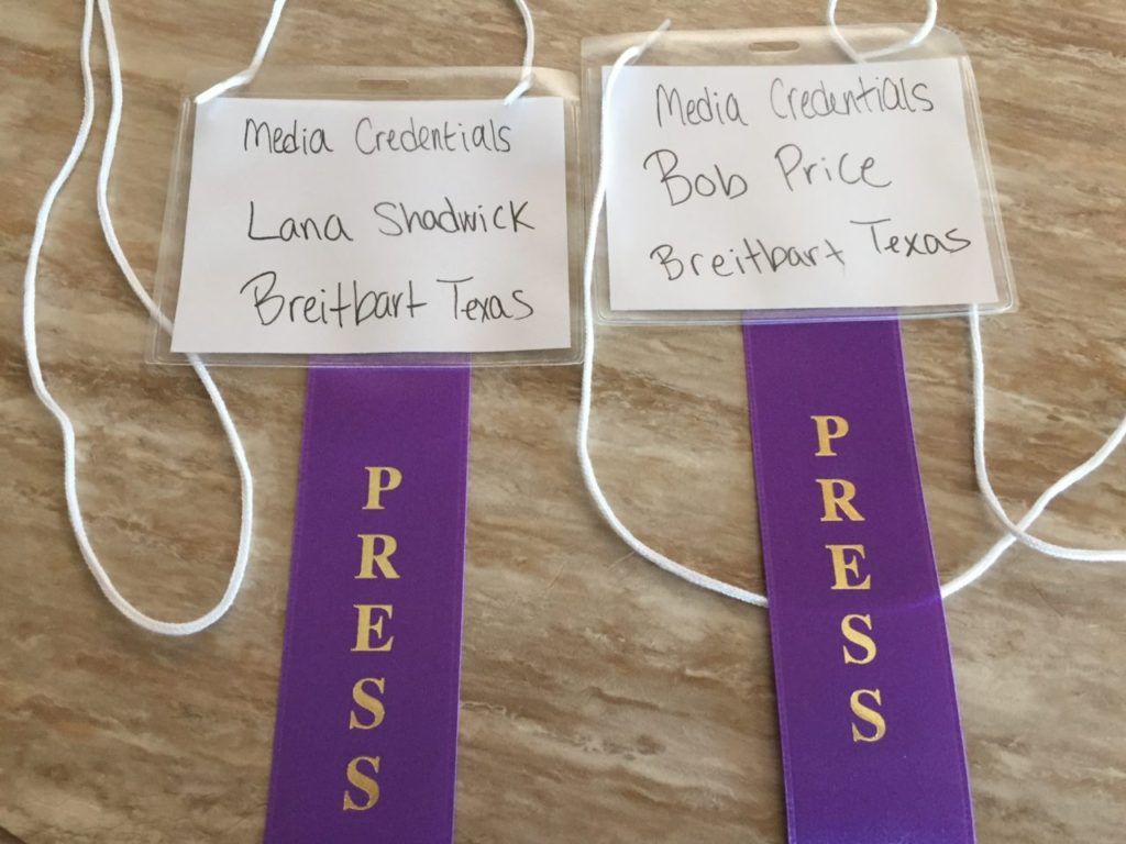 Green Party Convention Official Media Credentials. Photo: (Lana Shadwick/Breitbart Texas)