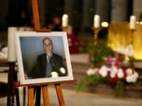 A picture of Father Jacques Hamel, the 85-year-old priest who was murdered by two jihadists is on display during Hamel's funeral at the Rouen cathedral in northern France on August 2, 2016. A section of pews was set aside for residents of Saint-Etienne-du-Rouvray, the nearby industrial town where the two jihadists, both 19, slit Hamel's throat while he was celebrating mass in an attack that shocked the country as well as the Catholic Church.