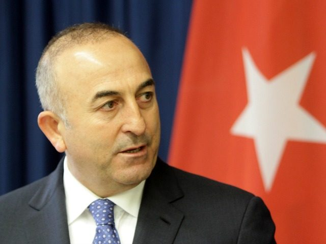 Turkish Foreign Minister Mevlut Cavusoglu gives a press conference with his Lithuanian counterpart (not in picture) in Vilnius on April 3, 2015. Cavusoglu said Turkey will send and 'informal mission' to Crimea to monitor what it termed the 'oppression' of Crimean Tatars, an ethnic group that opposed Russia's 2014 seizure …