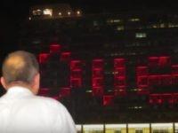 Tel Aviv Mayor Ron Huldai plays Tetris on City Hall