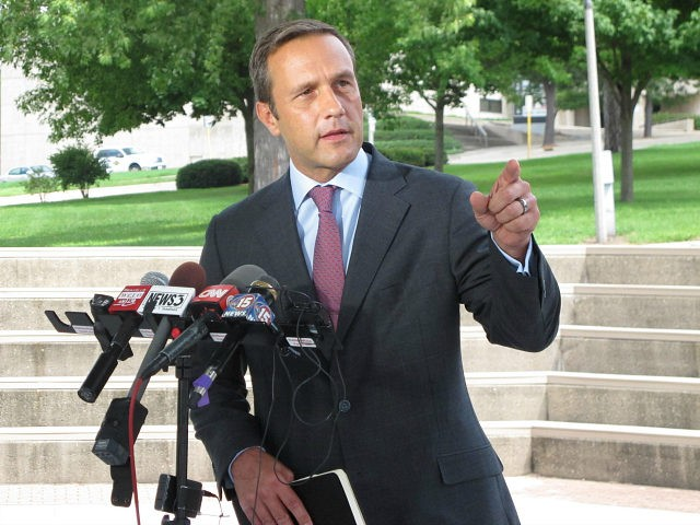 """Paul Nehlen, a Republican primary challenger to House Speaker Paul Ryan, accuses Ryan of betraying the party in an """"act of sabotage"""" against presidential nominee Donald Trump Wednesday, Aug. 3, 2016, in Janesville, Wis. (AP Photo/Scott Bauer)"""