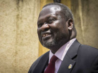 FILE--- In this file photo of Monday, Aug. 31, 2015. South Sudan's rebel leader Riek Machar. Sudan's rebel leader Machar has fled the country, a spokesman for his party said Thursday Aug. 18. 2016 . The former First Vice President Riek Machar has gone to a safe country in the …