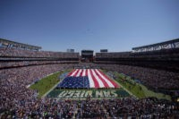 SAN DIEGO, CA - SEPTEMBER 11:  A general view of the field with giant American flag during the San Diego Chargers vs. the Minnesota Vikings season-opening game on September 11, 2011 at Qualcomm Stadium in San DIego, California. (Photo by Donald Miralle/Getty Images)