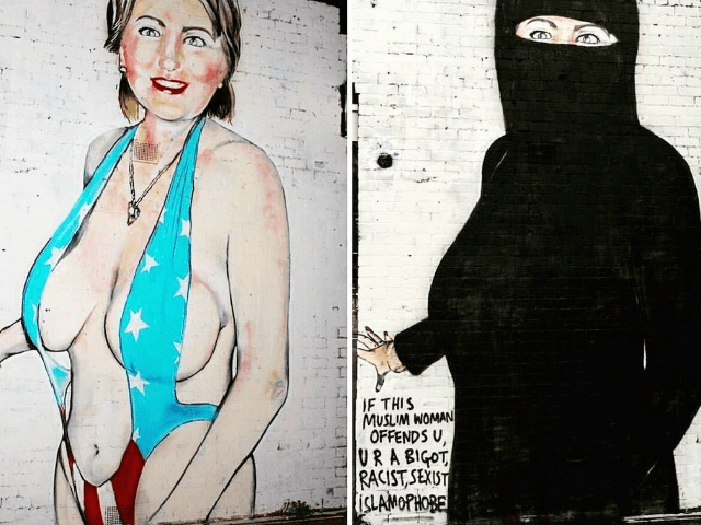 Artist Covers Hillary Mural With Islamic Veil After Social Media Ban And Fine Threat