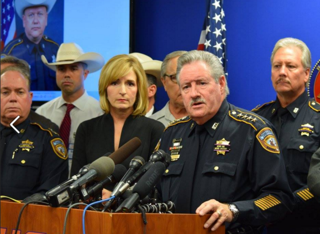 Sheriff Ron Hickman and District Attorney Devon Anderson brief reporters on murder of Deputy Darren Goforth. (Photo: Bob Price/Breitbart Texas)
