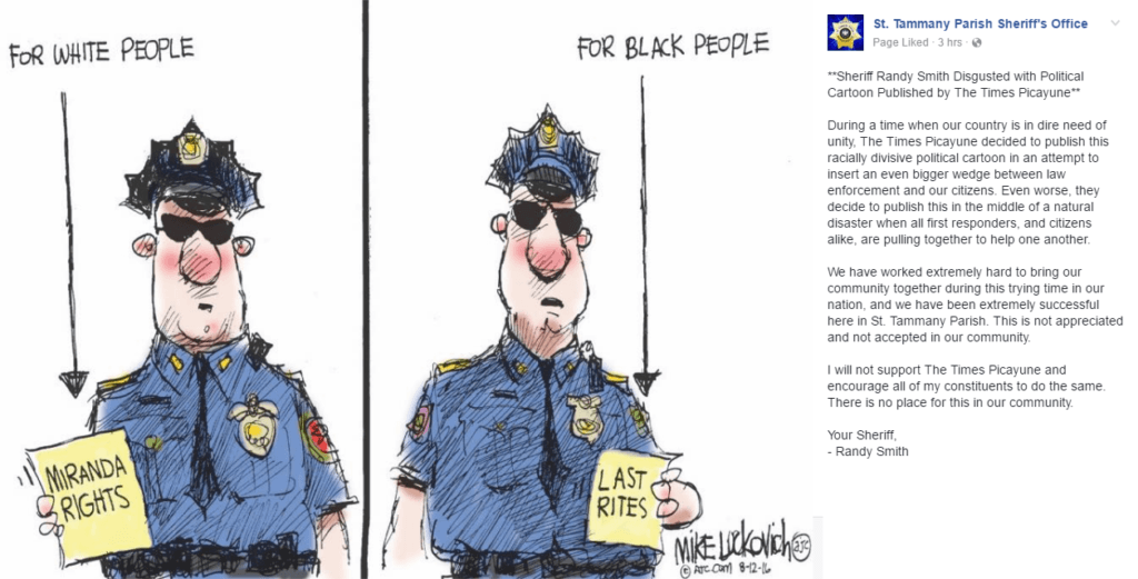 St. Tammany Sheriff's Office Response To Political Cartoon