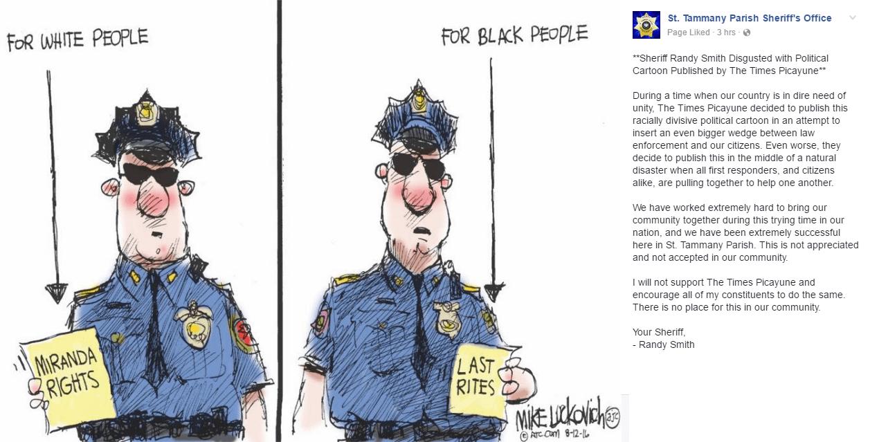 Louisiana Paper Depicts First Responders Handing Blacks \'Last Rites\'