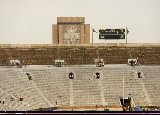 College Football: View of nearly empty stands as fans evacuated during Notre Dame vs South Florida due to extreme weather and tornado warning at Notre Dame Stadium. Touchdown Jesus in foreground. South Bend, IN 9/3/2011 CREDIT: Fred Vuich (Photo by Fred Vuich /Sports Illustrated/Getty Images) (Set Number: X86348 TK1 R8 …