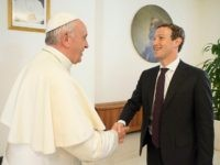 Pope Francis shakes hands with Facebook CEO Mark Zuckerberg during a meeting at the Vatican August 29, 2016. Osservatore Romano/Handout via Reuters