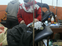 A picture shows people being treated at a field hospital after an alleged poison gas attack by troops loyal to President Bashar al-Assad in the rebel-held city of Daraya, southwest of the capital Damascus, on January 13, 2014. At least three people were killed in the attack, Syria's main opposition National Coalition alleged in a statement. It also said the army's attack was linked to a bid by the Assad regime to ensure the opposition rejects participation in peace talks next week in Switzerland. AFP PHOTO/FADI DIRANI (Photo credit should read FADI DIRANI/AFP/Getty Images)