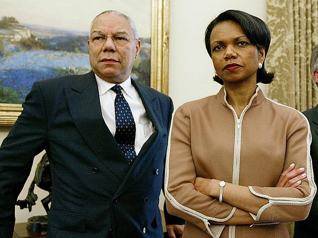 UNITED STATES, Washington : US Secretary of State Colin Powell (L), National Security Advisor Condoleeza Rice (C) and White House Chief of Staff Andrew Card (R) look on as US President George W. Bush meets with Chilean President Ricardo Lagos in the Oval Office of the White House 19 July …