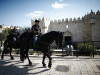 Two Israeli mounted police patrol the area around Damascus Gate outside of the Old City of Jerusalem during the friday prayer, on February 5, 2016. Three men from Qabatiya, near Jenin, attacked police with guns and knives outside Jerusalem's Old City, killing a female officer and wounding another before being …