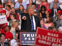 Republican presidential candidate Donald Trump holds a campaign rally at BB&T Center in Sunrise, Fla., on Wednesday, Aug. 10, 2016. (Patrick Farrell/Miami Herald/TNS via Getty Images)