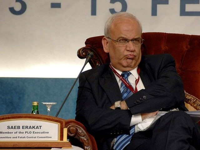 Chief Palestinian negotiator Saeb Erakat grimaces as he attends the second day of the US-Islamic World Forum in Doha on February 14, 2010. US Secretary of State Hillary Clinton is due to address the forum, building on President Barack Obama's own speech in Cairo last year calling for a 'new …