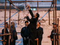 Iranian officials prepare the noose for the execution of Balal, who killed fellow Iranian youth Abdolah Hosseinzadeh in a street fight with a knife in 2007, during his execution ceremony in the northern city of Noor on April 15, 2014. Samereh Alinejad, the mother of Abdolah Hosseinzadeh, spared the life …