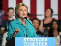 Democratic presidential candidate Hillary Clinton speaks during a campaign event in Reno, Nevada on August 25, 2016. He is taking hate groups mainstream and helping a radical fringe take over the Republican Party, she said at the event about her opponent Republican presidential candidate Donald Trump. / AFP / JOSH …