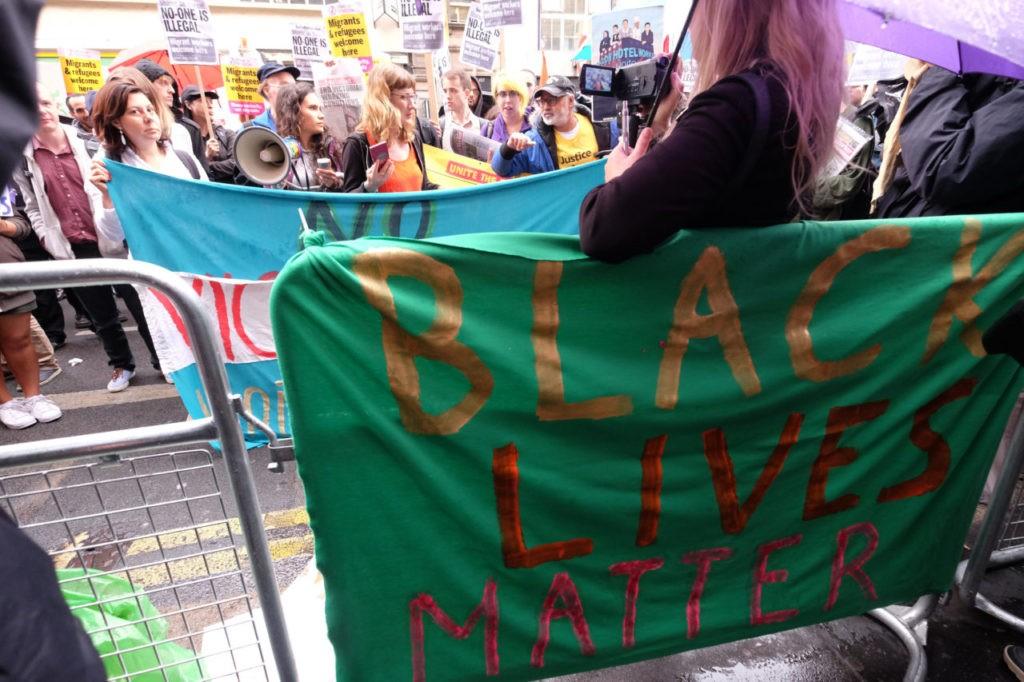 Black Lives Matter activists attend the protest