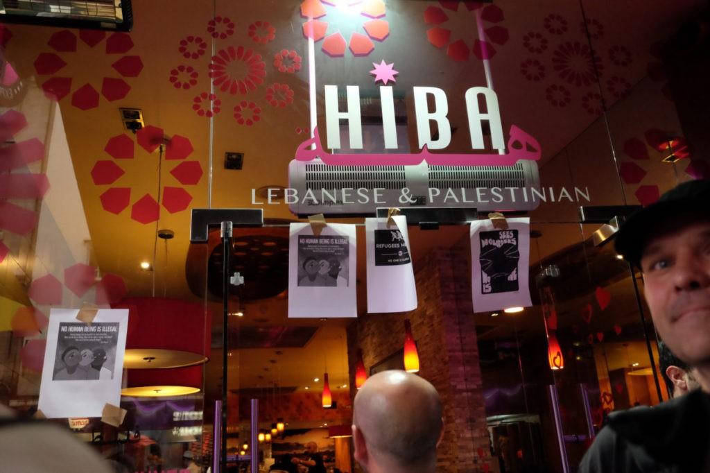 A neighbouring Lebanese / Palestinian restaurant put up posters in its window in solidarity with the protesters.