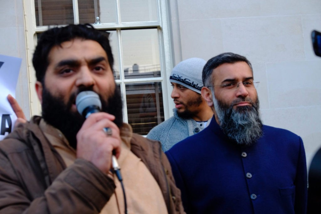 Anjem Choudary and associates demonstrate in London against the Pakistani government