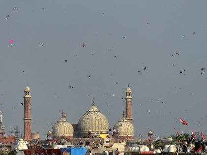 DELHI, INDIA AUGUST 15: People fly kites from the roof of their houses on the occasion of India's Independence Day in New Delhi.(Photo by K Asif/India Today Group/Getty Images)