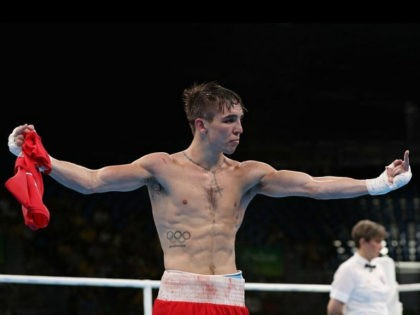 RIO DE JANEIRO, BRAZIL - AUGUST 16: Michael John Conlan of Ireland jestures to the crowd after his defeat to Vladimir Nikitin (not pictured) of Russia in the boxing Men's Bantam (56kg) Quarterfinal 1 on Day 11 of the Rio 2016 Olympic Games at Riocentro on August 16, 2016 in …