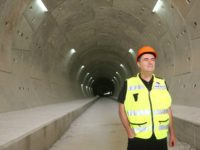 Transportation Minister Yisrael Katz stands at one of the five tunnels dug to accommodate the country's first high-speed electric train from Jerusalem to Tel Aviv.. (photo credit:TRANSPORTATION MINISTRY)