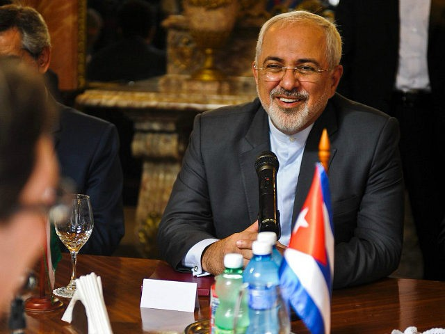 Iran's Foreign Minister Mohammad Javad Zarif holds a meeting with his Cuban counterpart Bruno Rodriguez (L, foreground), at the Foreign Ministry in Havana, on August 22, 2016. Mohammad is in Cuba on an official visit. / AFP / YAMIL LAGE (Photo credit should read YAMIL LAGE/AFP/Getty Images)