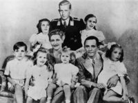 German Nazi politician and minister of propaganda Paul Joseph Goebbels (1897 - 1945) with his wife Magda and their children, Helga, Hildegard, Helmut, Hedwig, Holdine and Heidrun, 1942. Also present is Harald Quandt (in uniform), Magda Goebbels' son by her first marriage. With the fall of the Third Reich, Magda …
