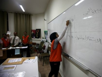Palestinian poll officials tally the votes at a polling station in the West Bank city of Ramallah on October 20, 2012. Polling stations were closed in the West Bank after 12 hours of voting in the first Palestinian election since 2006, with voters casting their ballots in a municipal poll …