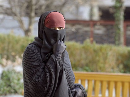 A woman wearing a niqab, the islamic full veil, walks in a street of Lyon, eastern France, on January 25, 2010. A ban on the wearing of the full Islamic veil is being studied in several European countries, including the Netherlands, Denmark and Austria. In France a parliamentary commission is …
