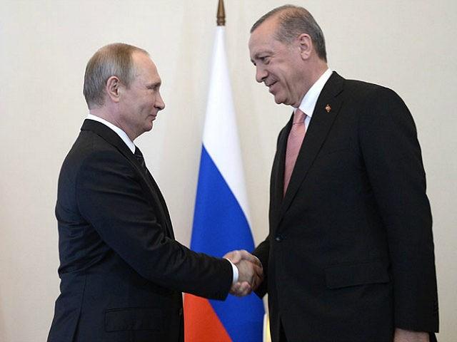 Russia, St. Petersburg : 2908086 08/09/2016 Russian President Vladimir Putin (left) meeting with Turkish President Recep Tayyip Erdogan at the Constantine palace in St. Petersburg, August 9, 2016. Aleksey Nikolskyi/Sputnik