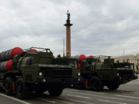 Russia, St. Petersburg : 2834528 04/28/2016 S-400 Triumph surface-to-air missile systems roll through Palace Square in St. Petersburg during Victory Day Parade rehearsal. Alexei Danichev/Sputnik