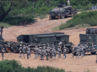 U.S. Army soldiers conduct the annual exercise in Paju, South Korea, near the border with North Korea, Monday, Aug. 22, 2016. South Korea and the United States began annual military drills Monday despite North Korea's threat of nuclear strikes in response to the exercises that it calls an invasion rehearsal. (Lim Byubng-shick/Yonhap via AP)