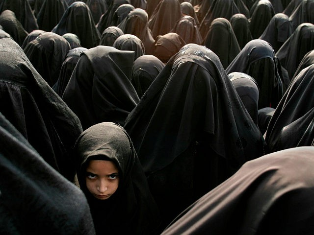 ISTANBUL, TURKEY - FEBRUARY 20: A Turkish girl stands in a crowd of women wearing burqas during the Shia holy day Ashura February 20, 2005 in Istanbul, Turkey. Ashura is a Shia Muslim holy day, celebrated as the most important day of the longer Muharram festival. The Ashura festival commemorates …