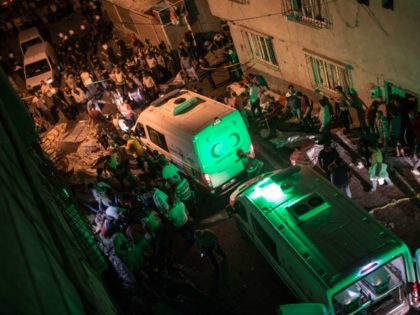 Ambulances arrive at site of an explosion on August 20, 2016 in Gaziantep following a late night militant attack on a wedding party in southeastern Turkey. The governor of Gaziantep said 22 people are dead and 94 injured in the late night militant attack. / AFP (Photo credit should read …