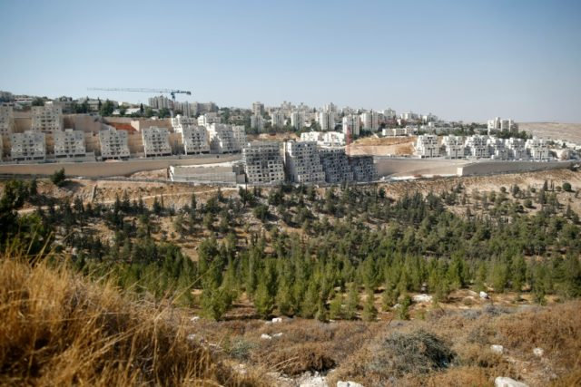 A general view of an Israeli building site of new housing units in the Jewish settlement of Neve Yaakov, in the northern area of east Jerusalem